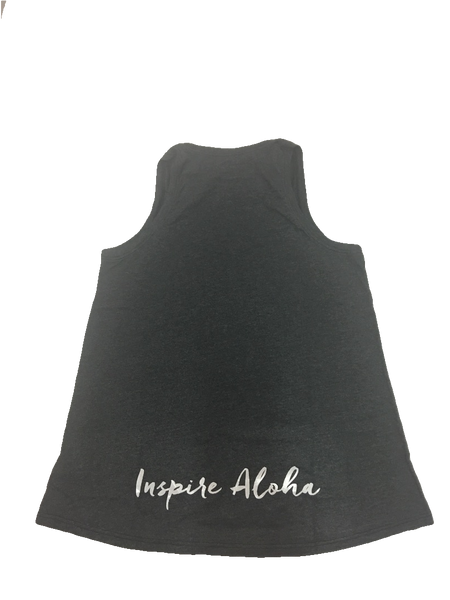 NEW! BE.LIVE.INSPIRE ALOHA Gray tank with white foil