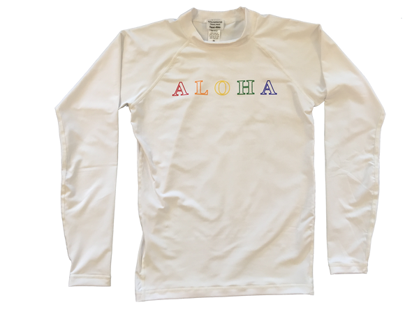 ALOHA long sleeve rash guard (black or white)