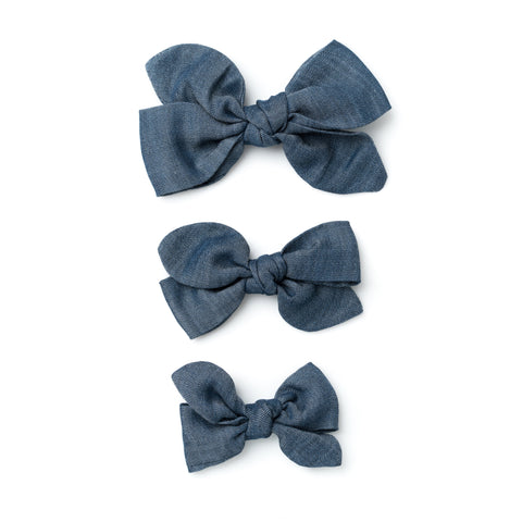 denim carousel hair bow