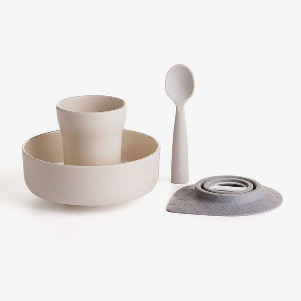 Miniware Smart Divider Set Natural Bamboo Sandwich Plate And Lavender Divider Strong Packing Baby Cups, Dishes & Utensils