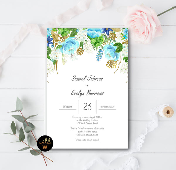 Draping Blue Floral Invitation Set