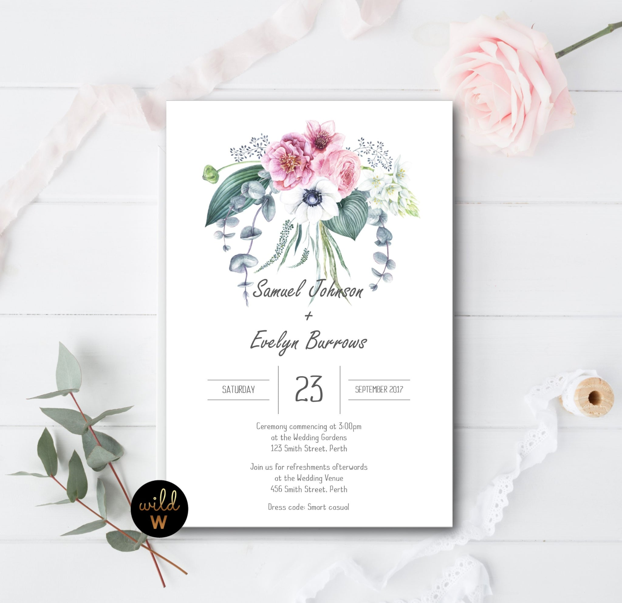 Whispy Floral Invitation Set