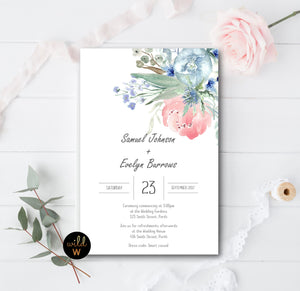 Watercolour Floral Invitation Set