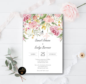 Blushing Floral Invitation Set