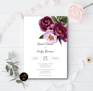 Busty Burgundy Floral Invitation Set