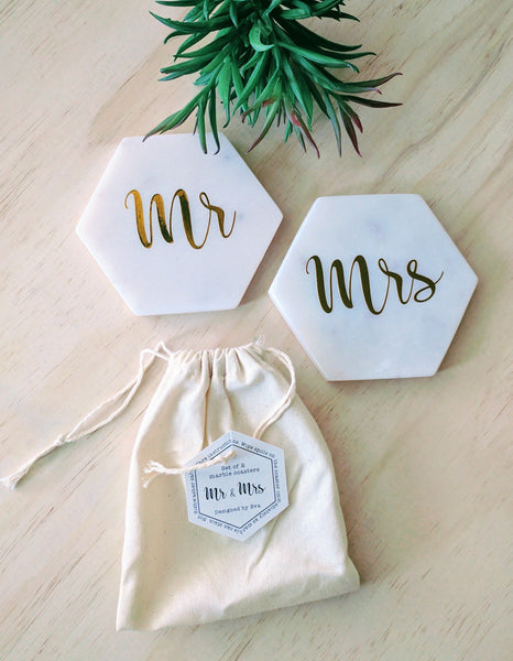 Marble Coaster Set (2) - Mr & Mrs