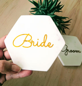 Marble Coaster Set (2) - Bride & Groom