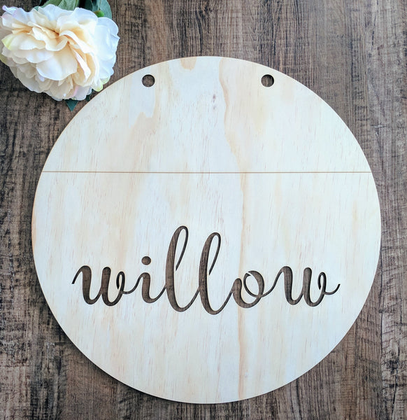 Wooden Round Lasercut Sign