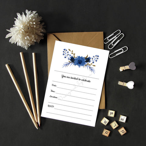 Fill in Invitations - Blue Floral