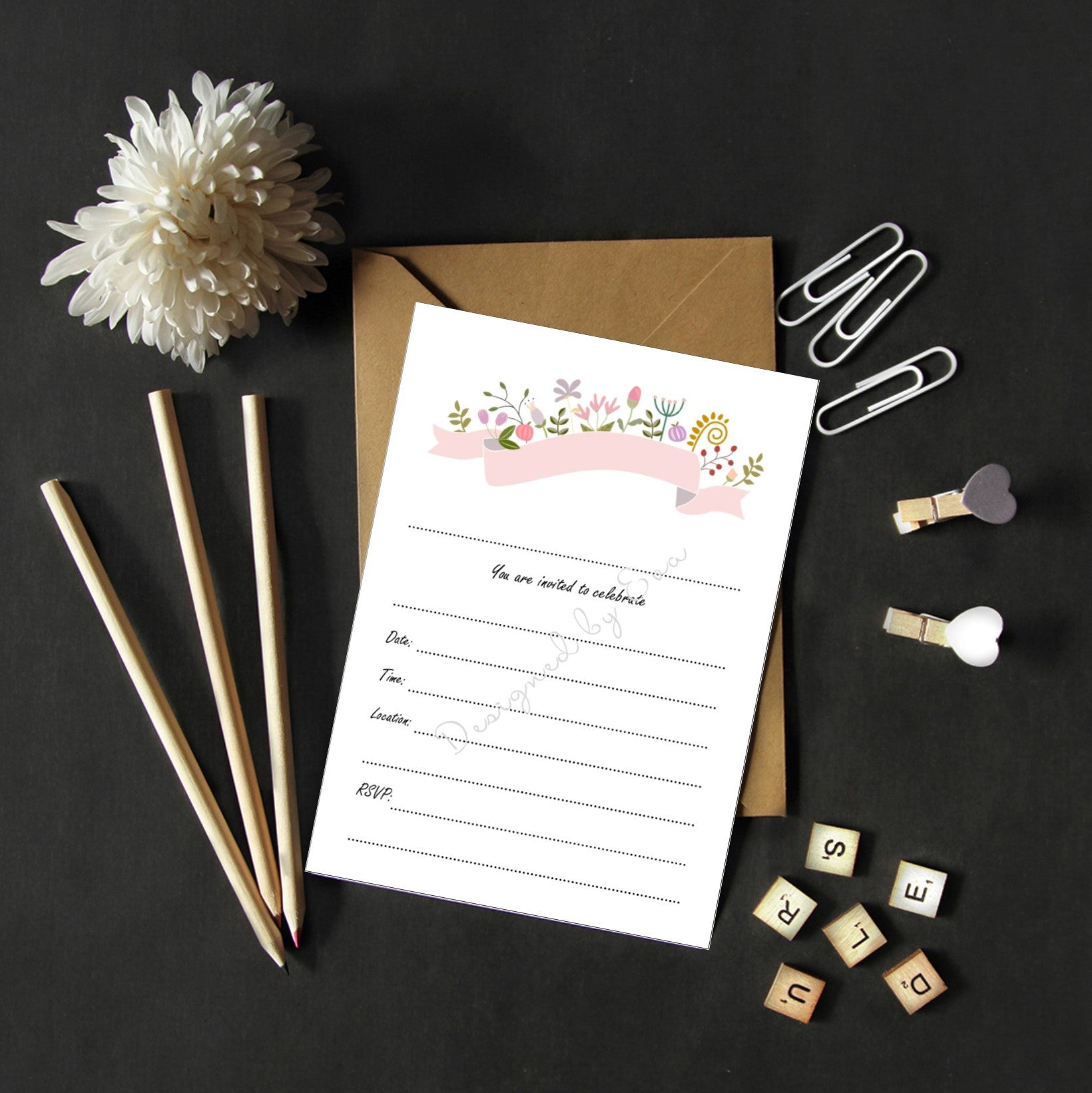Fill in Invitations - Floral Banner