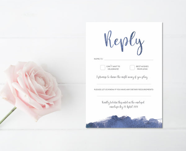 Navy Splash Watercolour Invitation Set