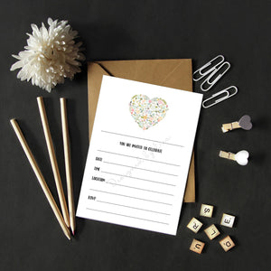 Fill in Invitations - Floral Heart