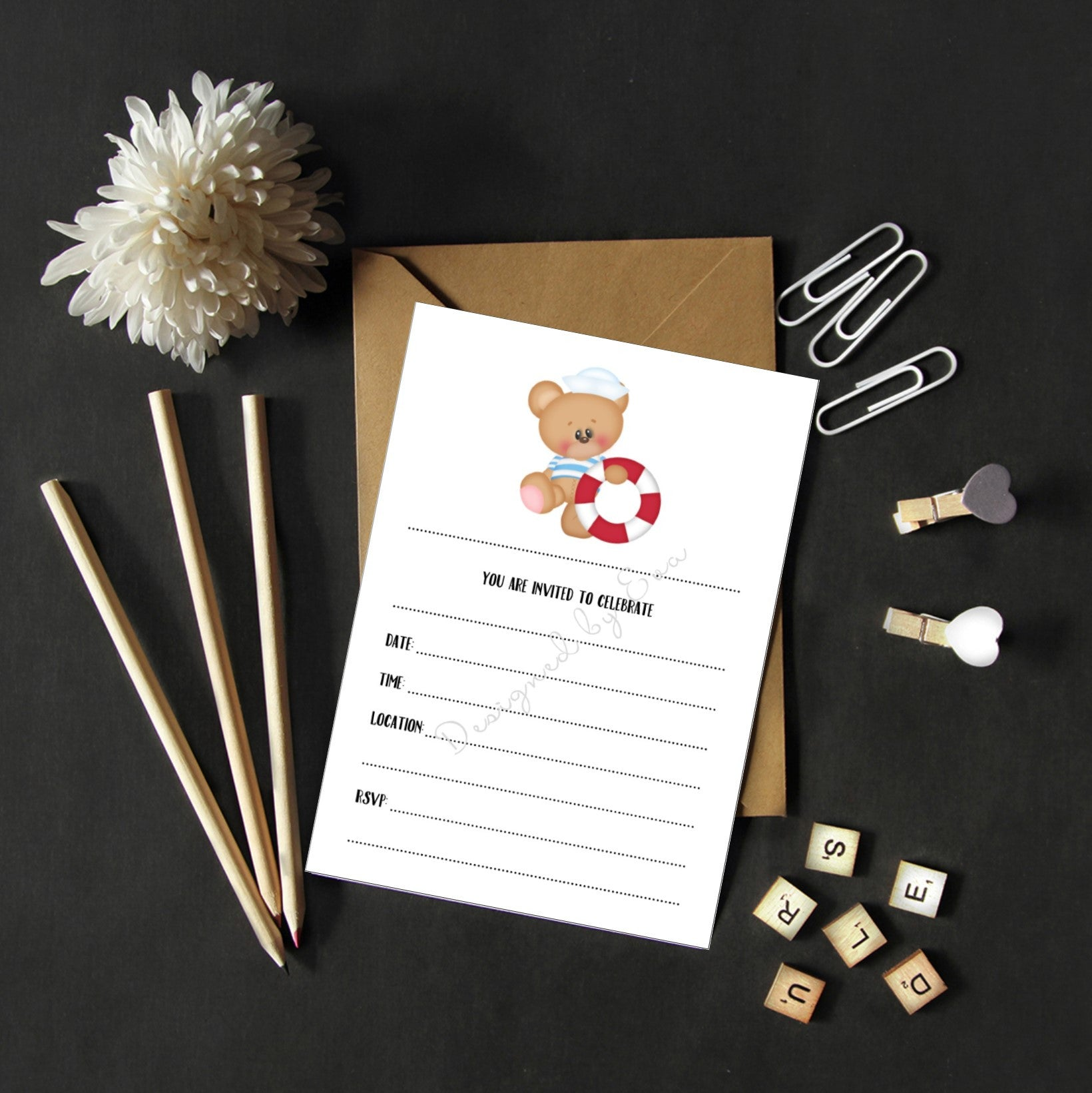Fill in Invitations - Sailor Bear