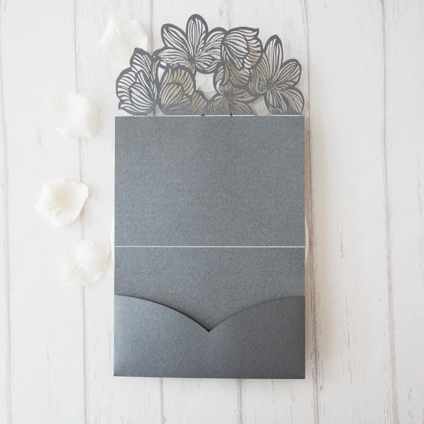 Exquisite Flower Tri-fold Laser Cut Invitation