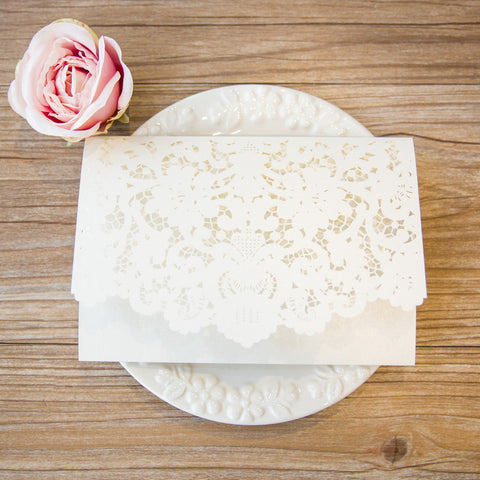 Graceful Tri-fold Laser Cut Invitation