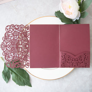 Love Heart Tri-fold Laser Cut Invitation