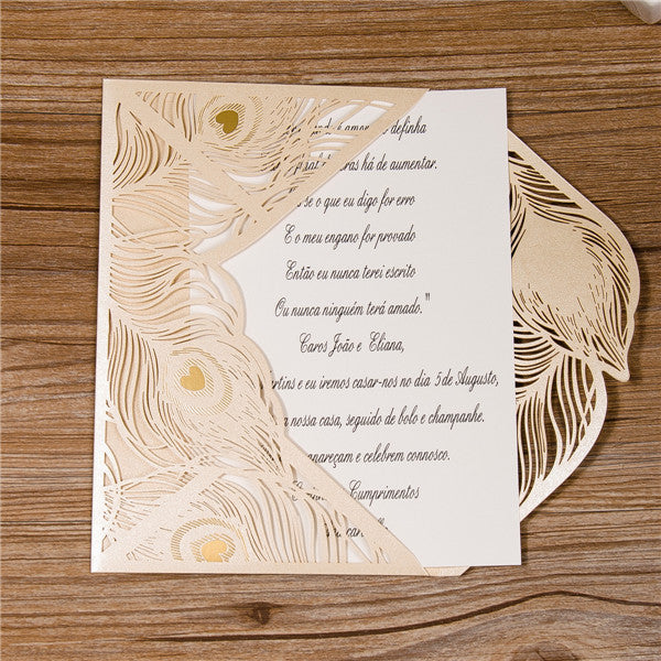 Peacock Feather Laser Cut Invitation