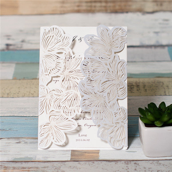 Dual Opening Flower Laser Cut Invitation