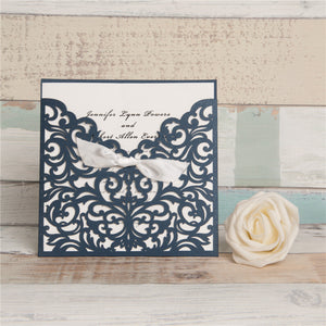White Bow Laser Cut Invitation
