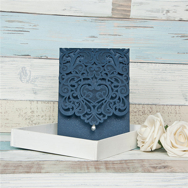 Lace Mesh Top Fold Laser Cut Invitation