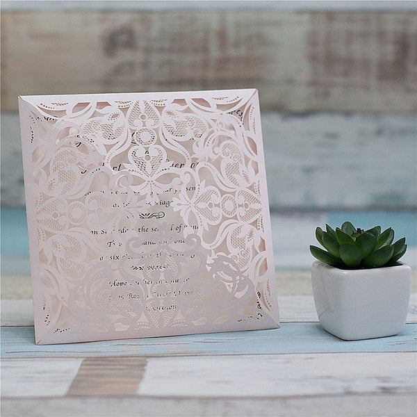 Floral Opening Laser Cut Invitation