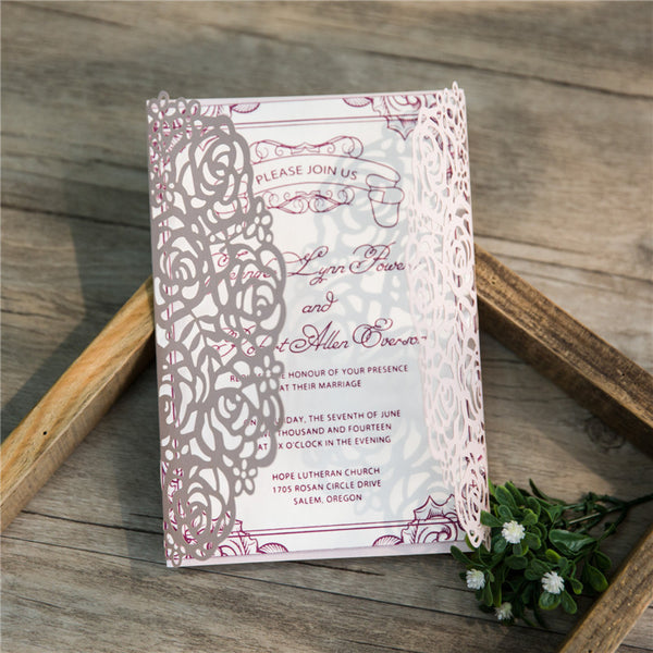 Rose Laser Cut Invitation