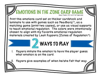 Emotions in the Zone Game