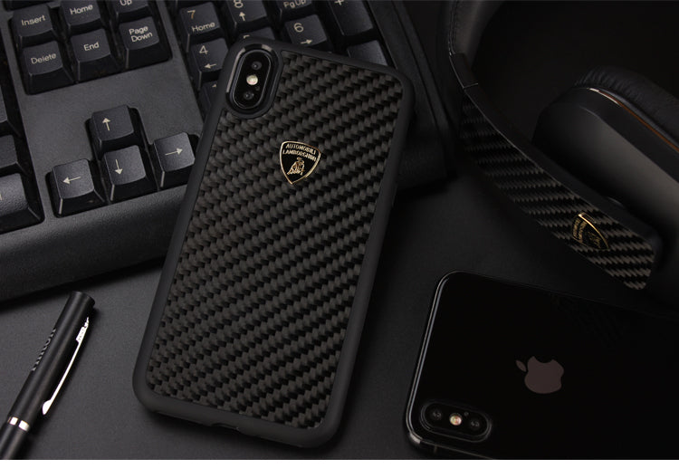 Automobili Lamborghini Elemento-D3 Carbon Fiber Back Cover Case for Apple iPhone X