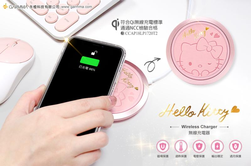 GARMMA Hello Kitty Metal Alloy Gold Tooled Leather Panel Fast Charging Wireless Charger Pad