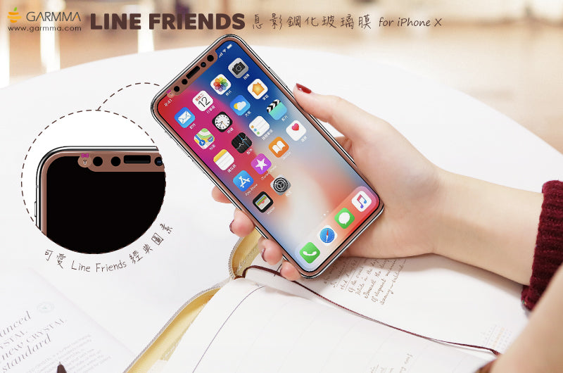 GARMMA Line Friends Screen Off Print Tempered Glass Protector Film for Apple iPhone X