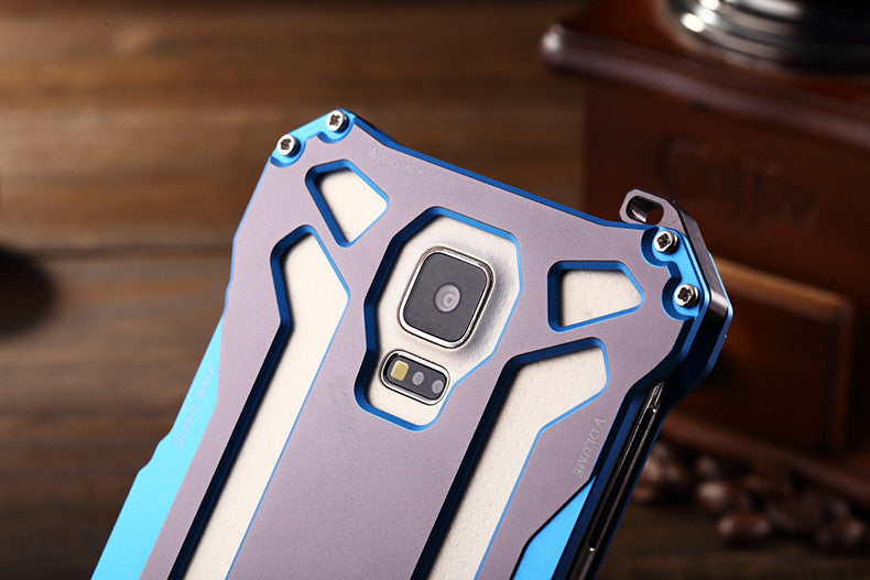 R-Just Gundam Aerospace Aluminum Contrast Color Shockproof Metal Shell Outdoor Protection Case for Samsung Galaxy S5