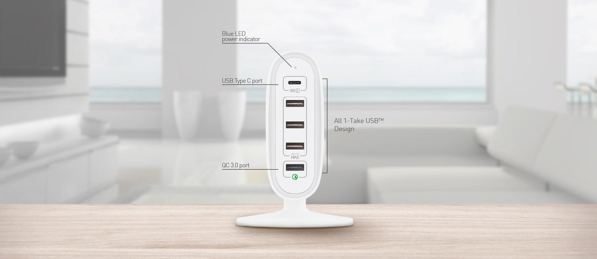 MOMAX U.Bull 5-USB Charging Station AutoMax Ultra Fast Type-C + QC 3.0 Charger for Smartphone & Tablet