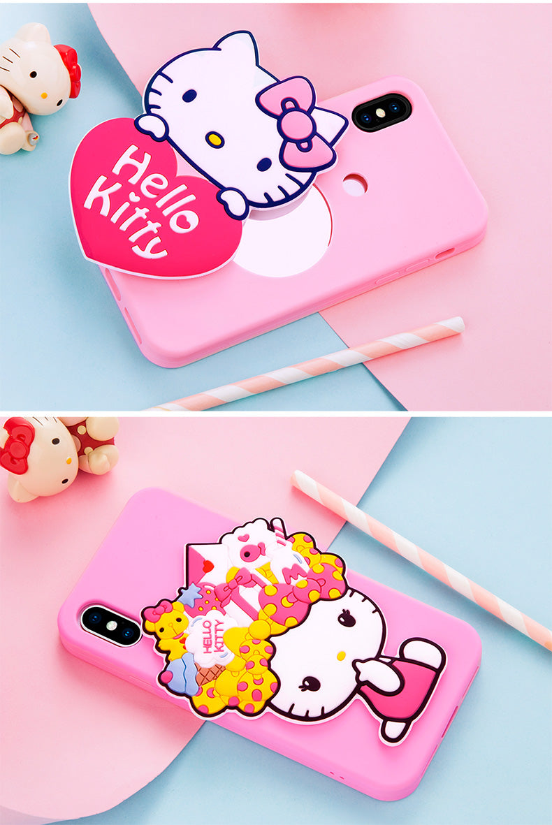 X-Doria Pudding Hello Kitty & My Melody Mirror Shockproof Silicone Case Cover for Apple iPhone X