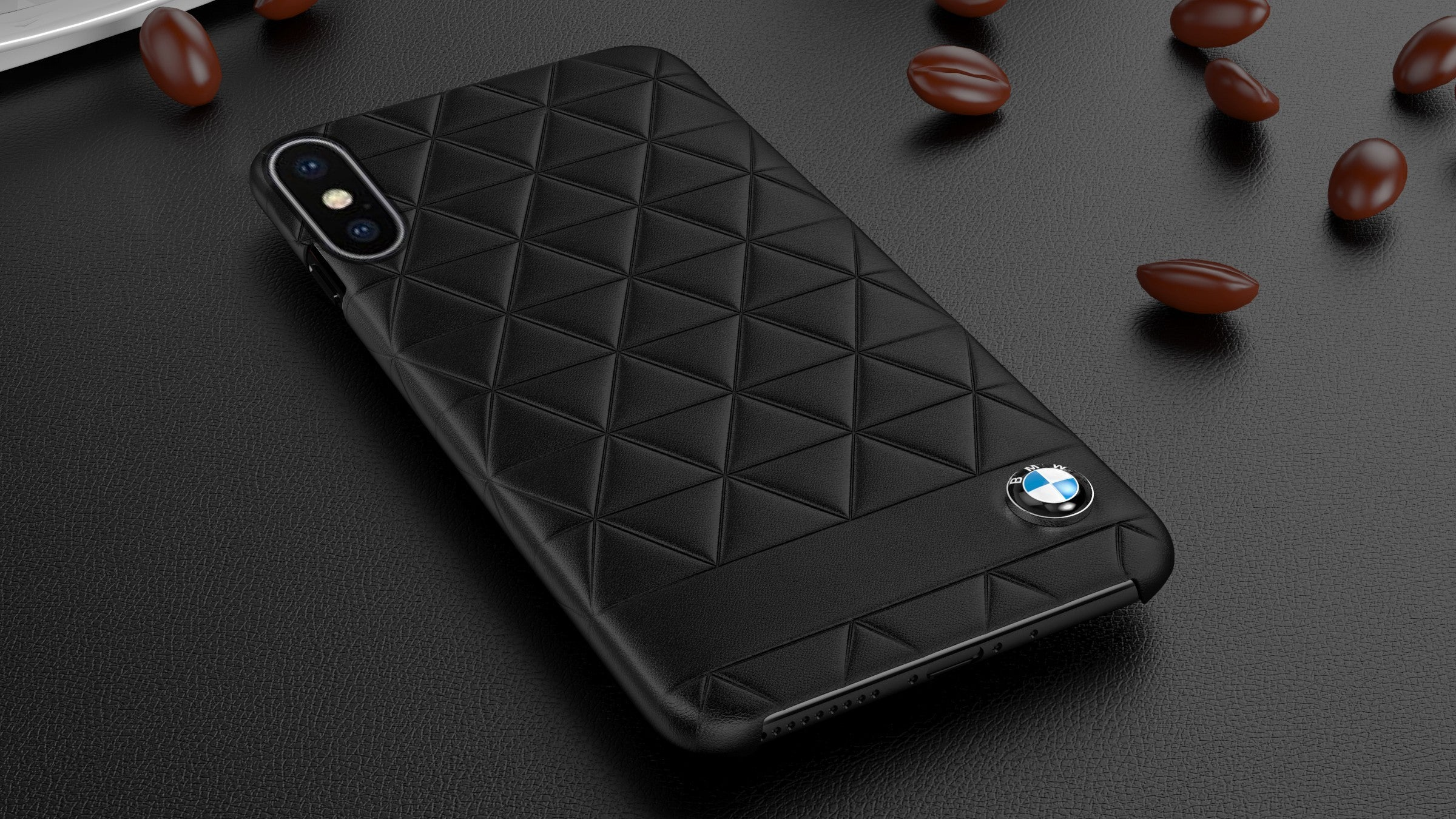 BMW Embossed Hexagon Leather Hard Case Cover for Apple iPhone XS Max/XR