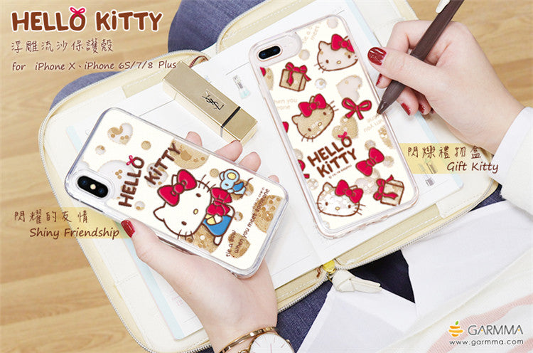 GOMO Hello Kitty Cameo Shinny Air Cushion Glitter Quicksand Back Case for Apple iPhone X/8 Plus/7 Plus