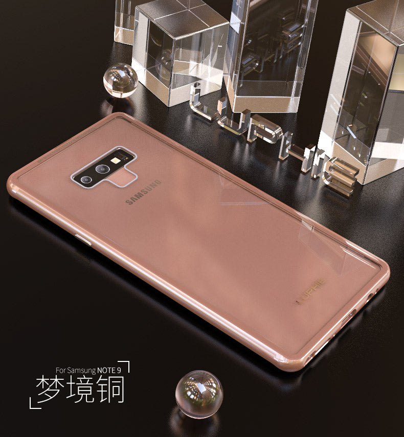 Luphie iGlass Airframe Aluminum Bumper Air Barrier Tempered Glass Back Case Cover for Samsung Galaxy Note 9