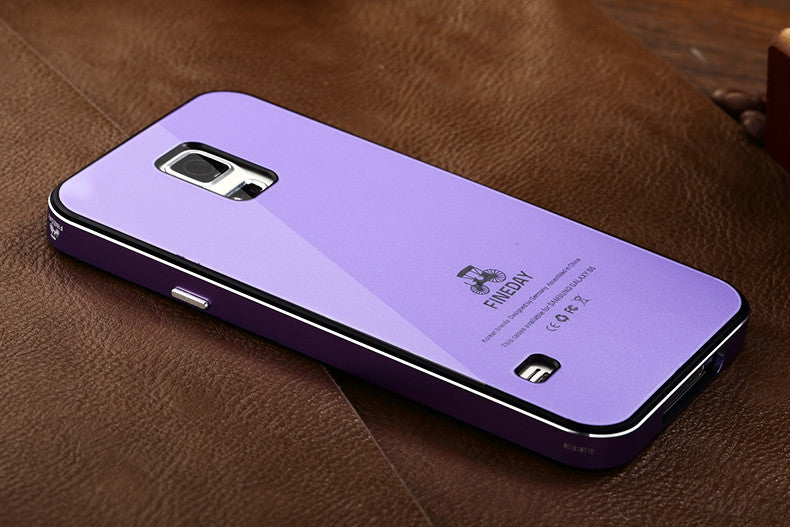 iMatch Aviation Aluminum Alloy Metal Bumper Tempered Glass Back Cover Case for Samsung Galaxy S5