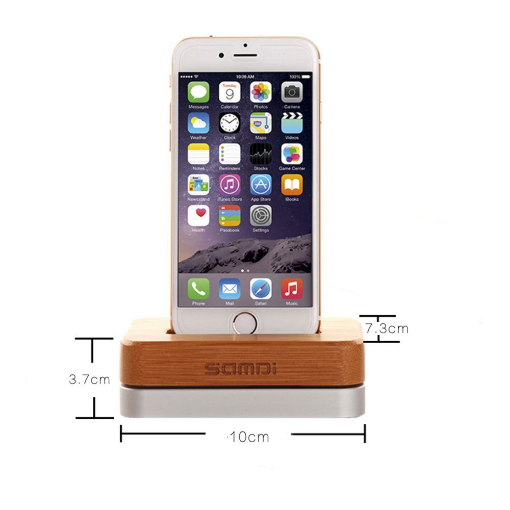 SamDi Aluminum Wooden Charging Dock Phone Stand Holder Cradle for iPhone & Android Smartphones