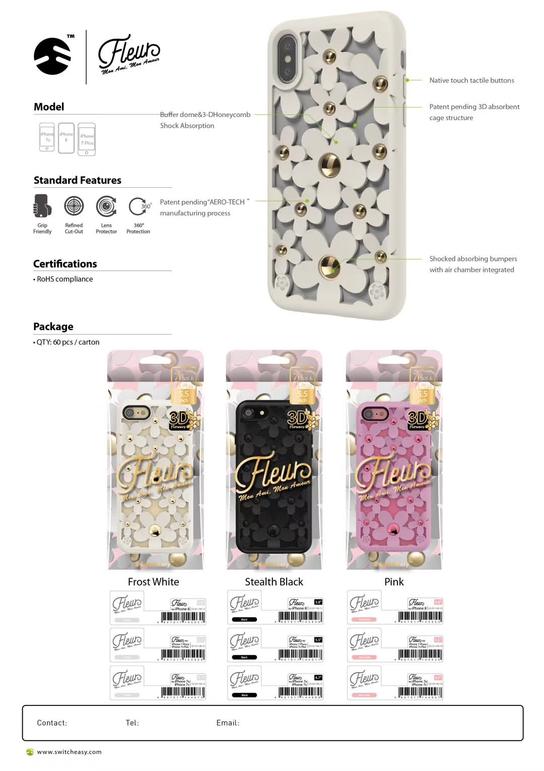 SwitchEasy Fleur 3D Flowers Protective TPU Case w/ Native Touch Buttons for Apple iPhone X