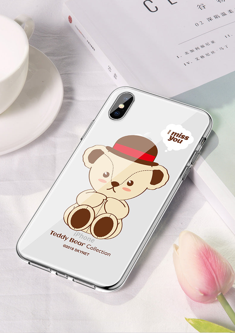 Teddy Bear Soft TPU Frame Hard PET Back Cover Case for Apple iPhone XS/X/8 Plus/7 Plus