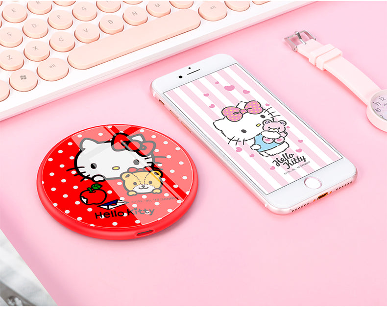 UKA Hello Kitty Tempered Glass Panel 10W Fast Charging Wireless Charger Pad