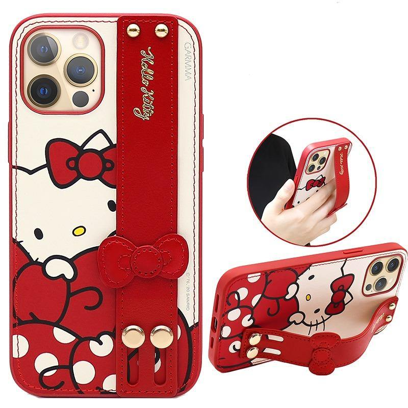 GARMMA Hello Kitty Adjustable Wrist Strap Kickstand Leather Cover Case - Armor King Case