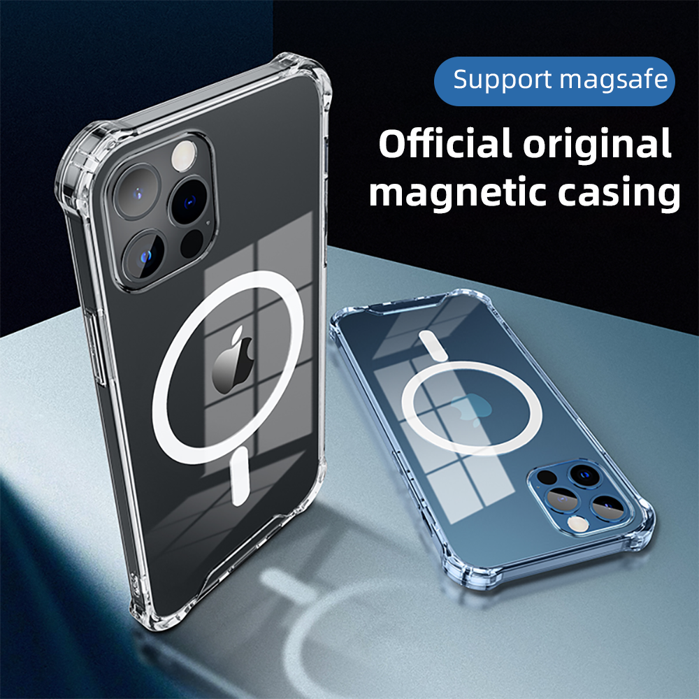R-Just Magnetic Wireless Charging Anti-fall Corners PC+TPU Shockproof Clear Back Cover