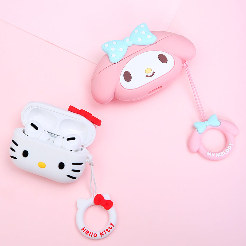 UKA Hello Kitty & My Melody Apple AirPods Pro Silicone Case Cover with Ring Strap