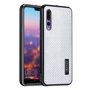 iMatch Luxury Aluminum Metal Bumper Genuine Carbon Fiber Back Cover Case