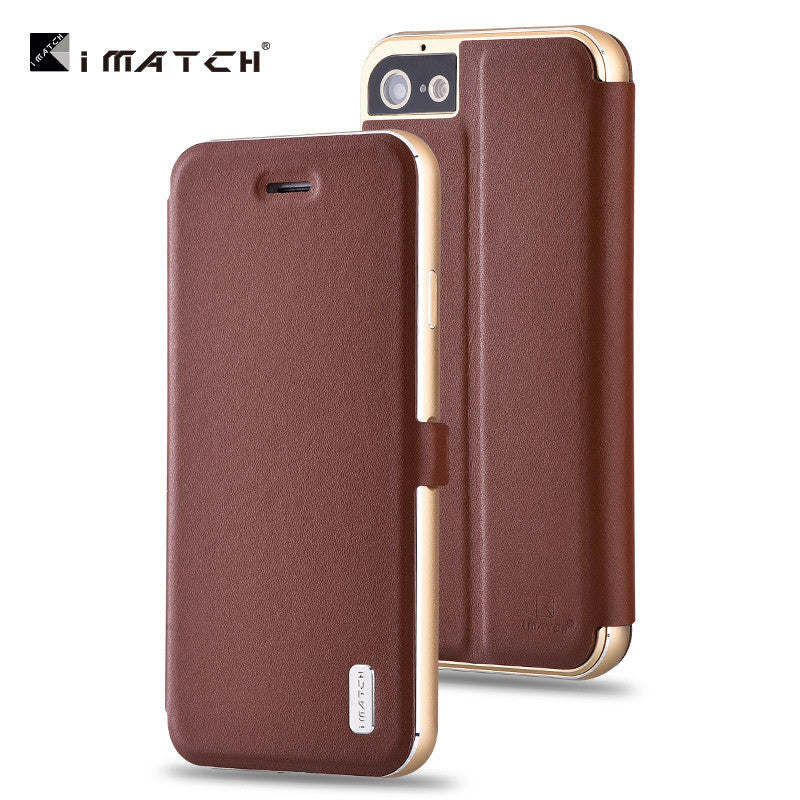 iMatch Luxury Aluminum Metal Bumper Premium Genuine Leather Flip Magnetic Case Cover