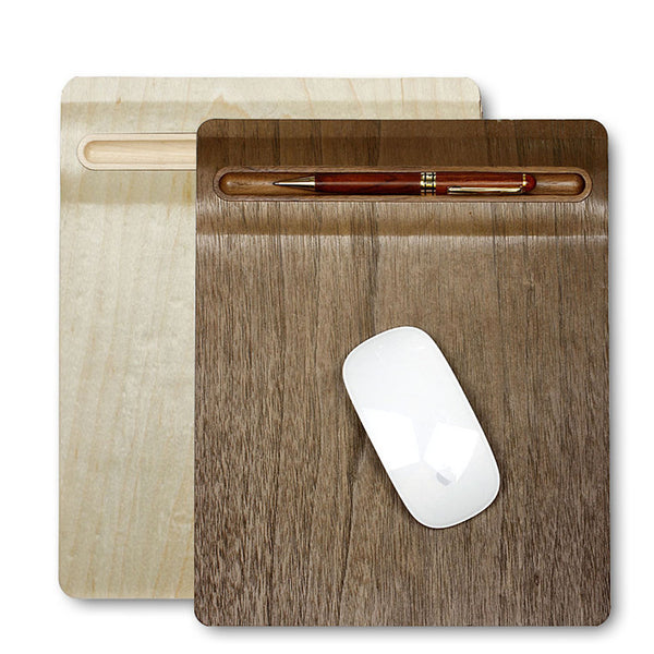 SamDi Low friction Multi-functional Natural Wood Mouse Pad with Pen Holder