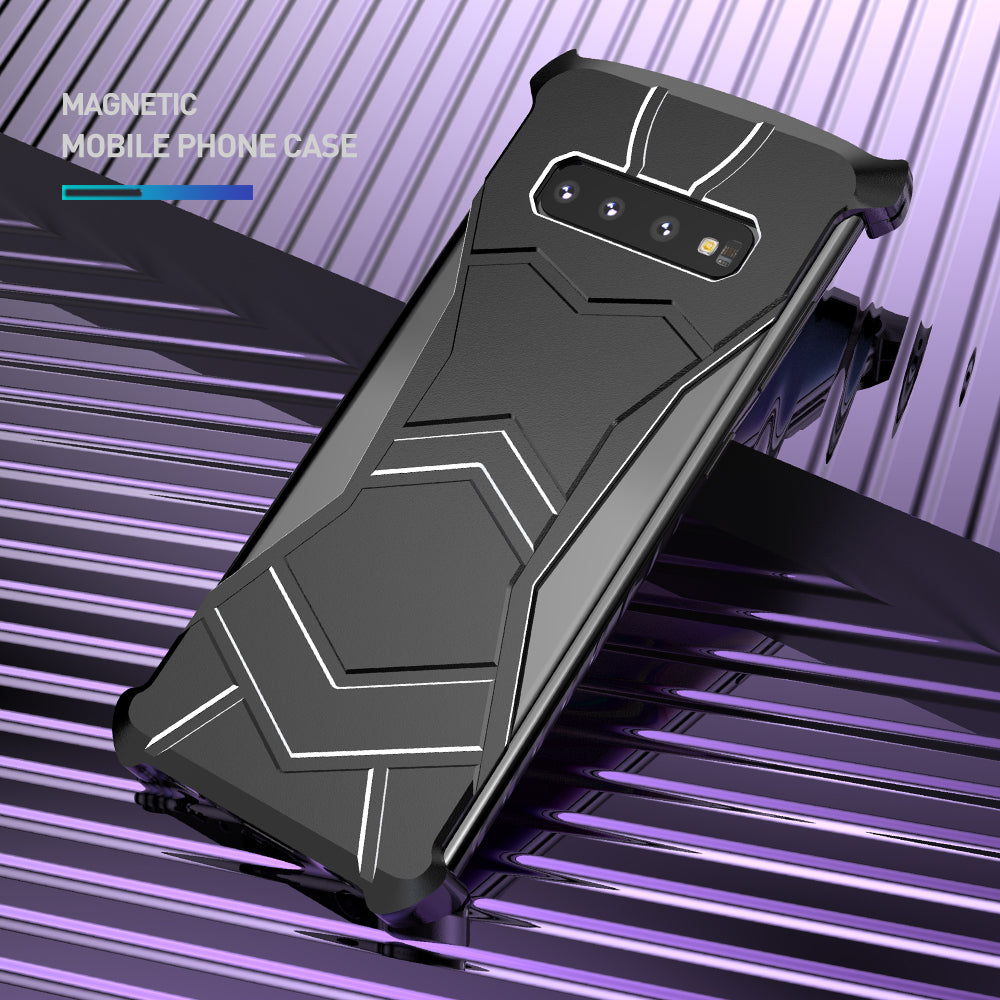 R-Just Black Panther Magnetic Adsorption Aluminum Metal Back Case Cover