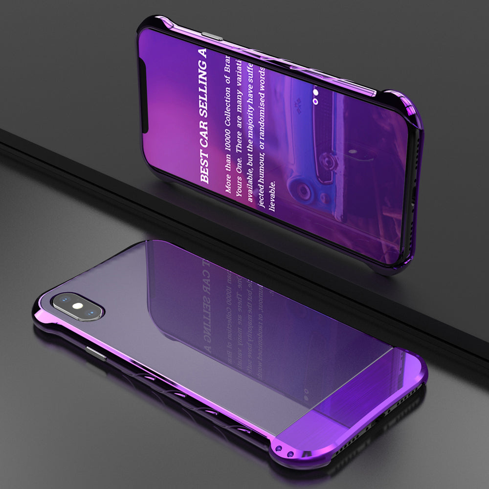 R-Just Dazzled Color Aluminum Bumper Tempered Glass Back Cover Case