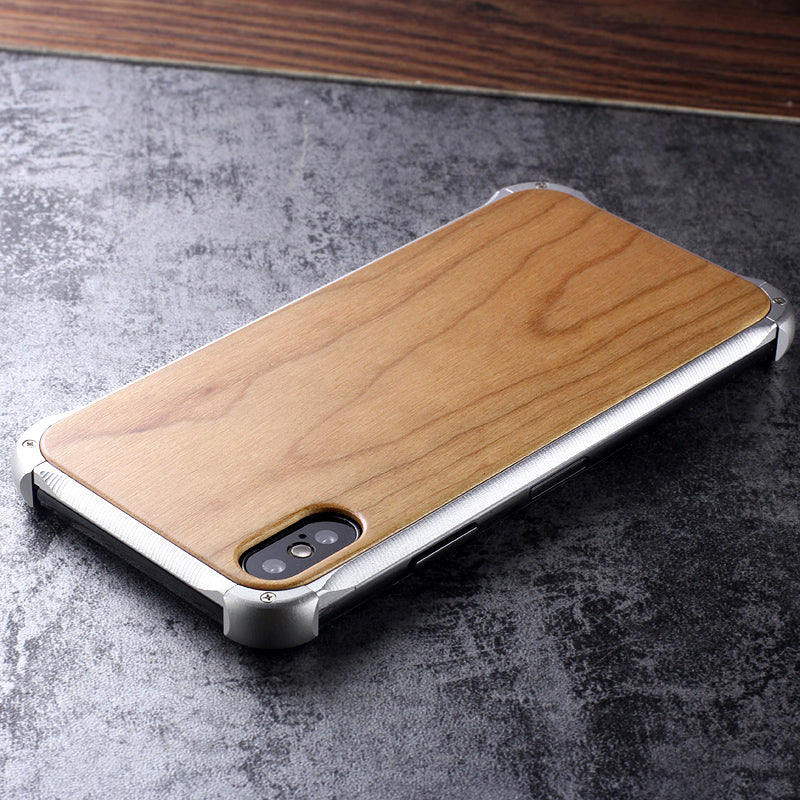 Kylin Armor Aluminum Metal Frame Natural Wood / Tempered Glass Back Case Cover